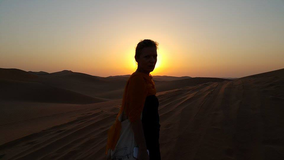 Anne in the Liwa desert. Photo: Anne Senstad