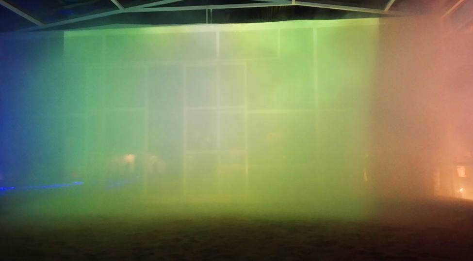 Liwa projection with fog. Photo: Anne Senstad